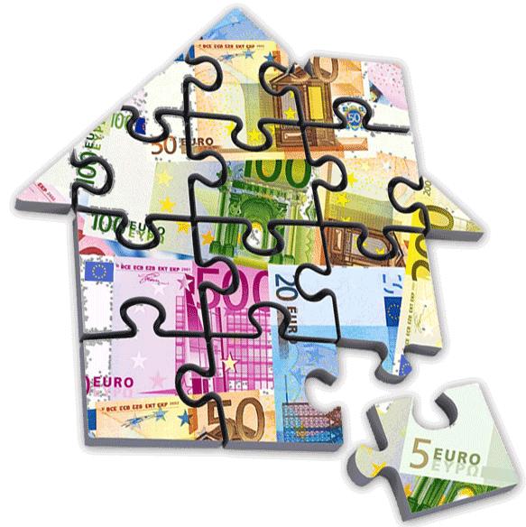 Haus Puzzle aus Geldscheinen